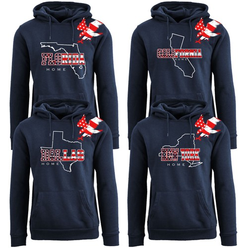 Women's American Home State and City USA Pull Over Hoodie