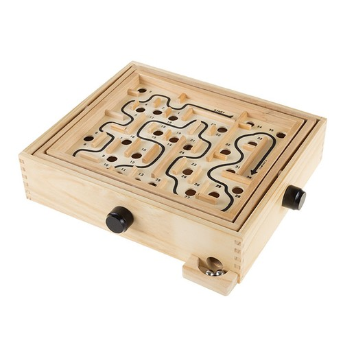 Labyrinth Wooden Maze Game with Two Steel Marbles, Puzzle Game