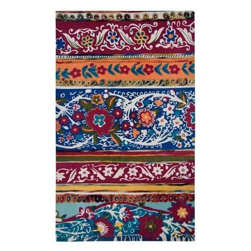 Spura Home Hand Dip dye Felt Embroidery Khichdi Runner Rug 27x45