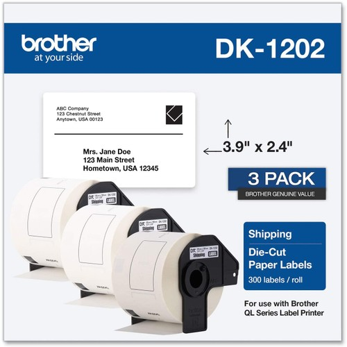 Brothers Brother Genuine DK-12023PK Die-Cut Shipping Paper Labels, Long Lasting Reliability, 300 Labels Per Roll, (3) Rolls per Box, White (DK12023PK)