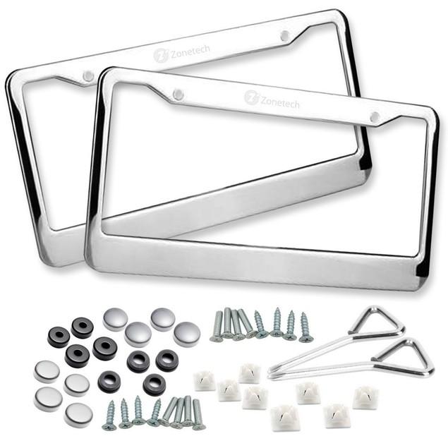 Zone Tech 2x Slim Chrome Stainless Steel License Plate Frame Screw Cap