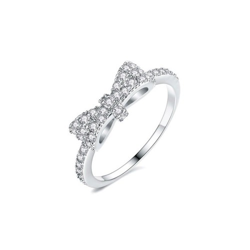 Sterling Silver Rhodium Finished Simulated Diamonds Bow Shape Fashion Ring-Sizes- 6-7-8