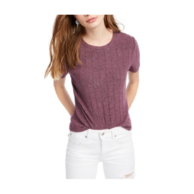 Crave Fame Juniors' Cozy Ribbed Top Purple Size Small