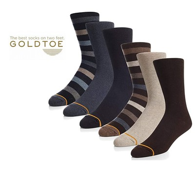 6 Pairs Gold Toe Men's Assorted Casual Crew Socks Was: $59.99 Now: $20.49.