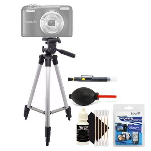 Tall Tripod + Screen Protector + Lens Cleaner + Dust Blower + 3pc Cleaning Kit