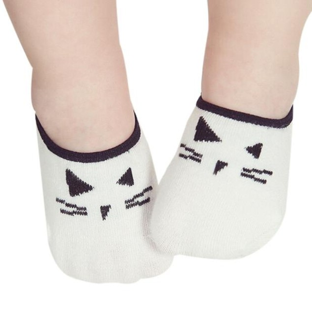 Lovely Baby Cartoon Cat Print Elastic Socks Antiskid Toddler Socks