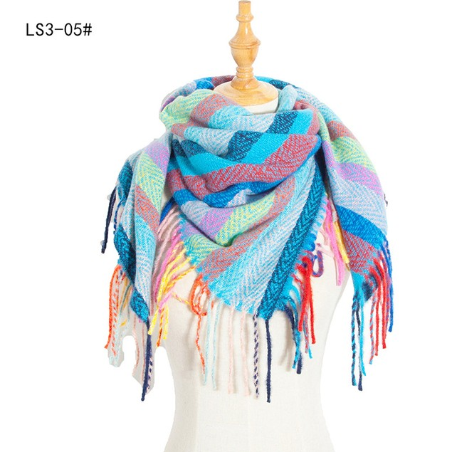 Long Fringed Square Scarf Women Men's Bib Shawl