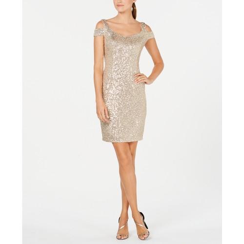 Calvin Klein Women's Sequin Cold-Shoulder Dress Beige Size 10