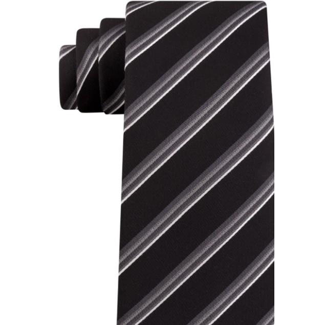 Kenneth Cole Reaction Men's Veloutine Stripe Tie Black Size Regular