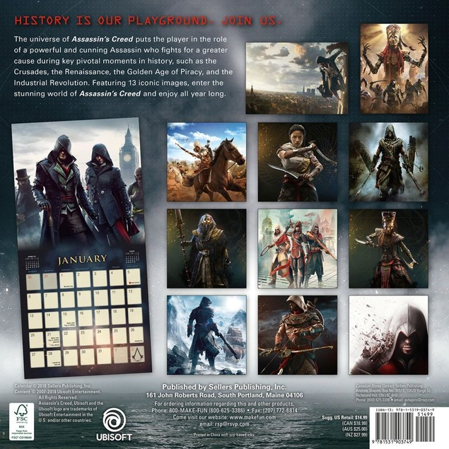 Assassin's Creed Wall Calendar, Gamers by Calendars