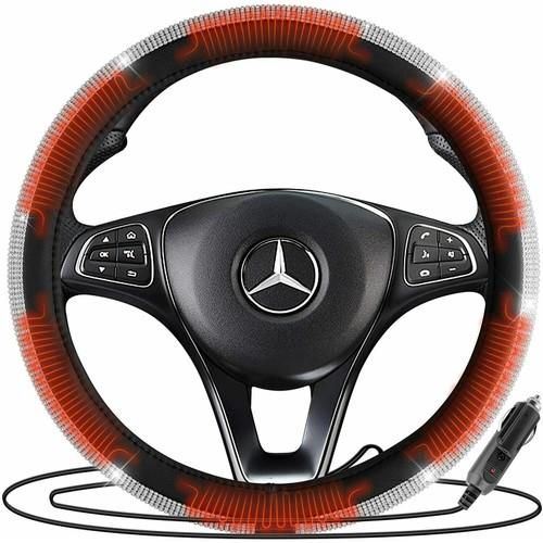 Zone Tech Car Steering Wheel Bling 12V Heated Cover Rhinestone PU Leather