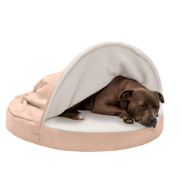 FurHaven Cooling Gel Orthopedic Round Faux Sheepskin Snuggery Pet Bed