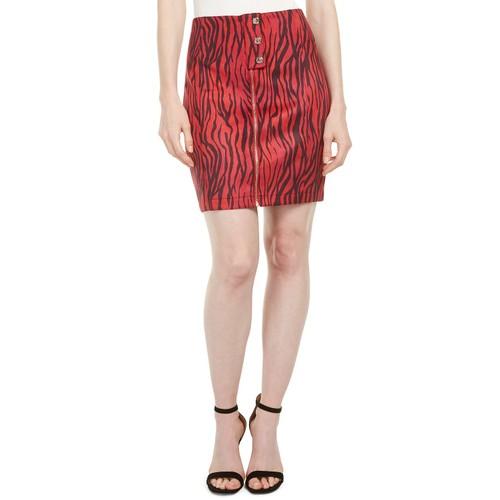 Guess Women's Rayanna High-Waist Zebra-Print Miniskirt Red Size 6