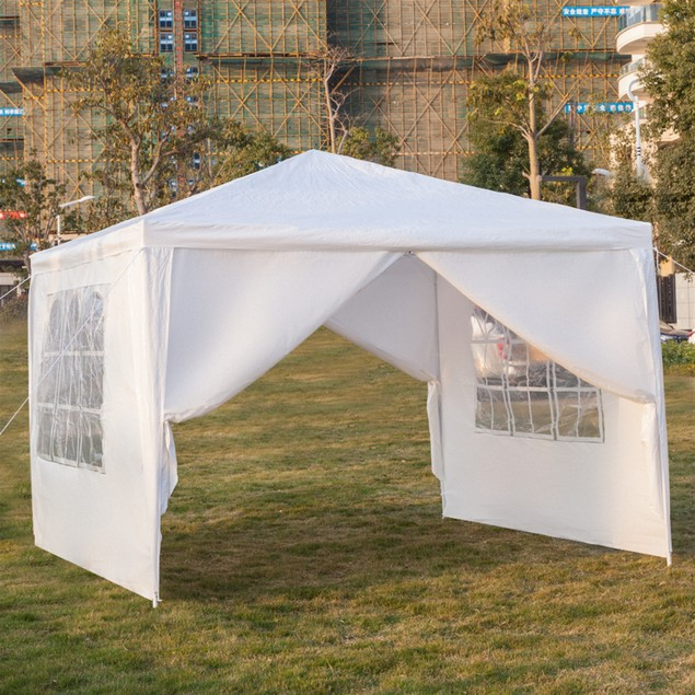 3 x 3m Four Sides Portable Home Use Waterproof Tent With Spiral Tubes White