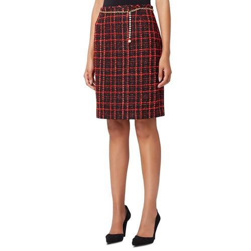 Tahari ASL Women's Petite Plaid Chain-Belt Pencil Skirt Red Size 16P