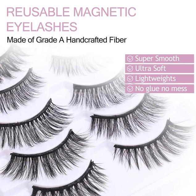 10 Pairs Magnetic Eyelashes Kit with Eyeliner Reusable Magnetic Lashes