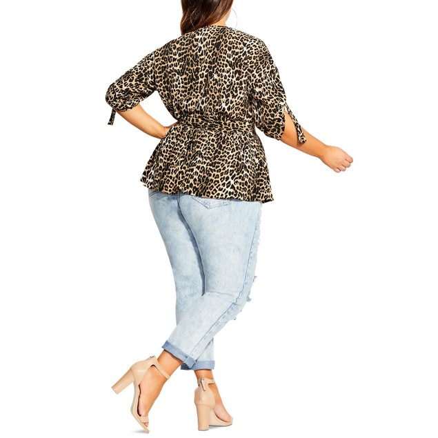 City Chic Women's Trendy Plus Leopard Print Faux Wrap Top Black Size 24W
