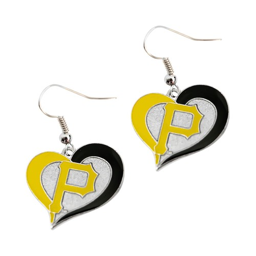 Pittsburgh Pirates Swirl Heart Earring MLB Dangle Logo Charm Gift