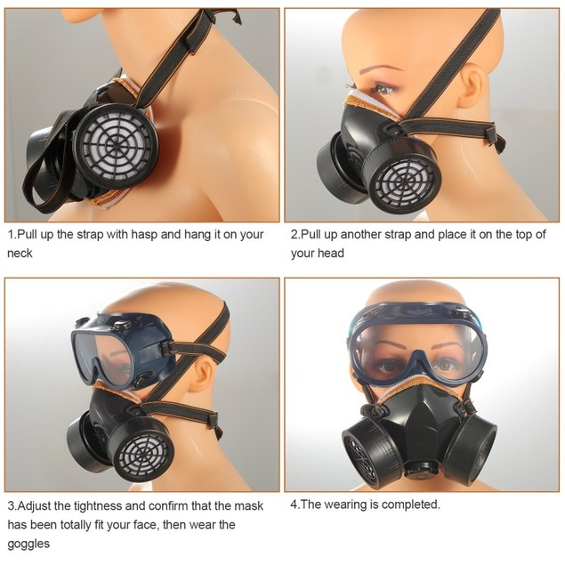 Respirator Mask Anti-Dust Industrial Gas Mask w/Goggles