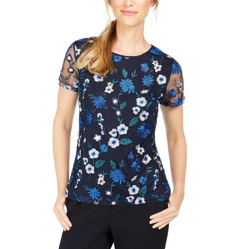 Calvin Klein Women's Floral Embroidered Mesh Top Blue Size X-Small