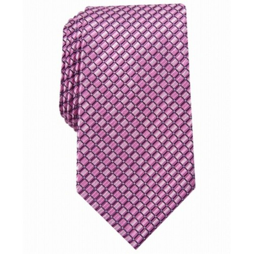 Perry Ellis Men's Nascarella Grid Tie Pink Size Regular