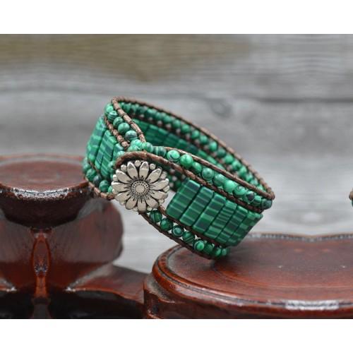 Novadab Rice Patterened green gemstone Sychronized bracelet