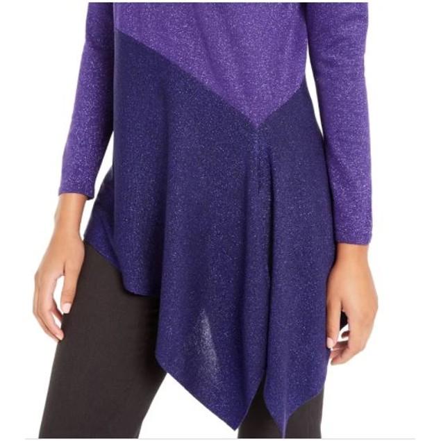 Alfani Women's Asymmetrical Colorblocked Shimmer Top Purple Size Large
