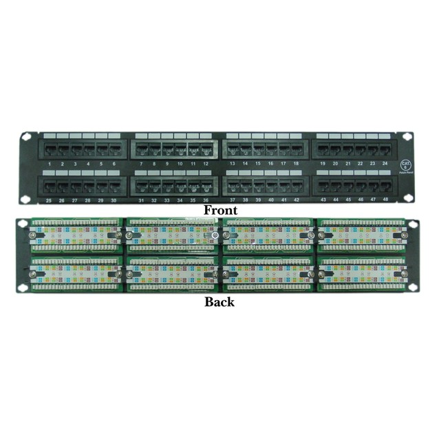 Rackmount 48 Port Cat6 Patch Panel, Horizontal, 110 Type,  2U