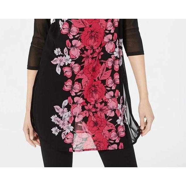 Alfani Women's Petite Printed Mesh Tunic Pink Size 44