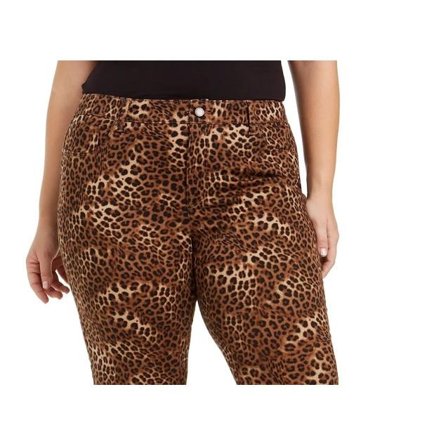 Charter Club Women's Plus Lexington Animal-Print Jeans Brown Size 18W