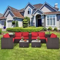 Deals on 8-Piece Outdoor Patio Cushioned Loveseat Furniture Set w/Storage