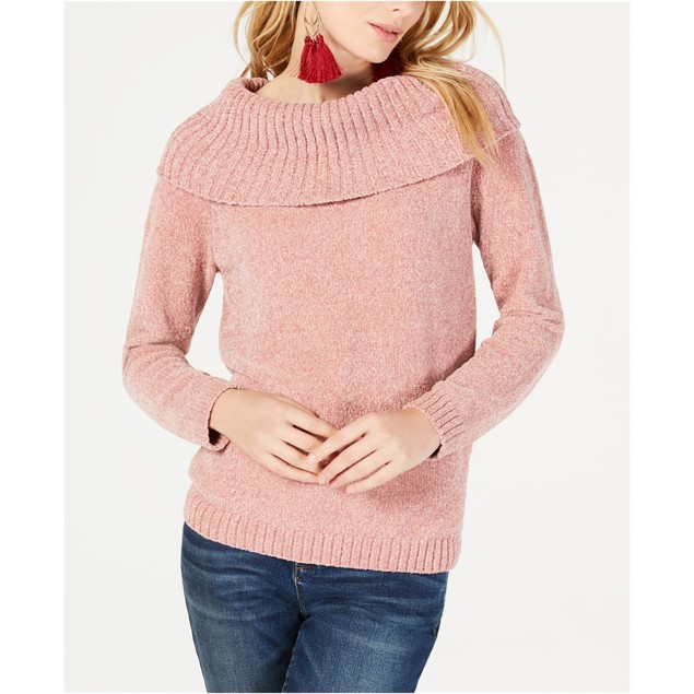 INC International Concepts Wo Cowl-Neck Chenille Sweater Pink Extra Large