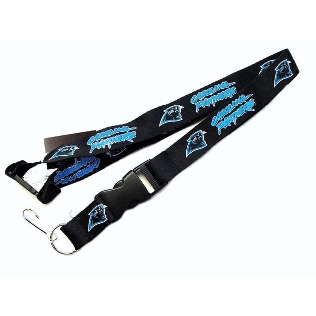 NFL Lanyard Keychain Batch Id Holder Carolina Panthers - Black