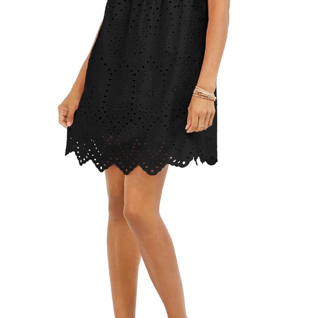 Style & Co Women's Eyelet Babydoll Dress Black Size Medium