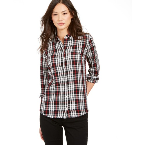 Charter Club Women's Petite Plaid Cotton Button-Up Shirt  Black Size Small