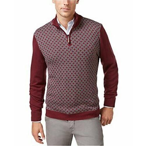Tasso Elba Men's 1/4-Zip Sweater Red Size X-Large