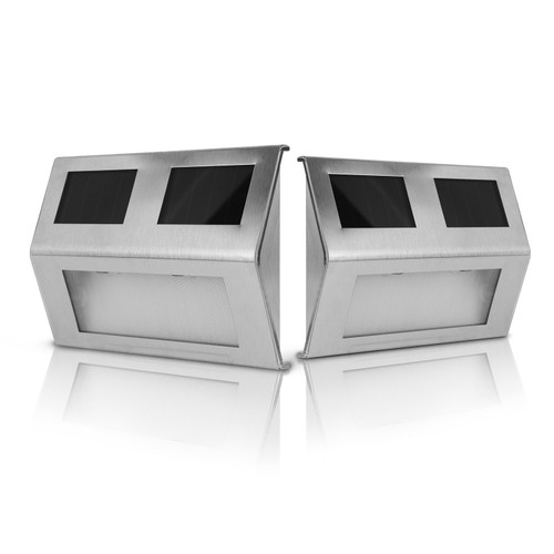 2 Pack Solar Light 2 LEDs Wall Lamp Stair Step Security Lamp