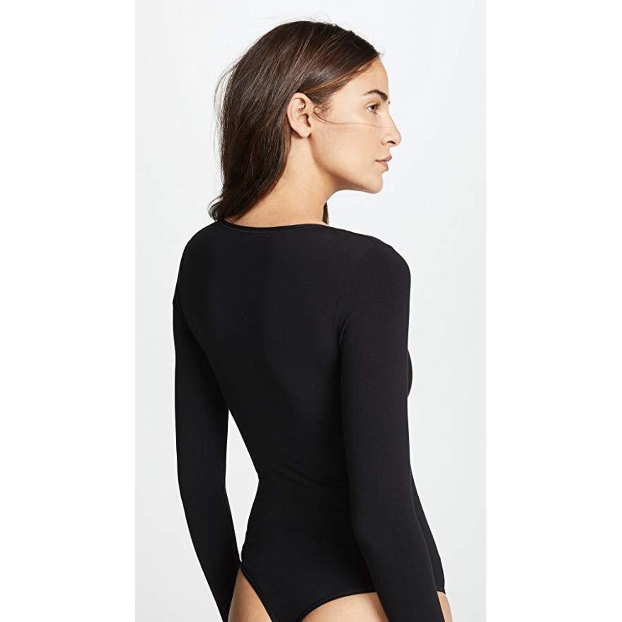 b016b39da334 ... Yummie Women's Long Sleeve Seamless Shaping Thong Bodysuit Black Sz La