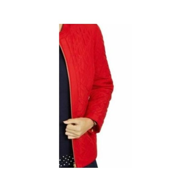 Charter Club Women's Quilted Mandarin Collar Jacket Red Size XX-Large