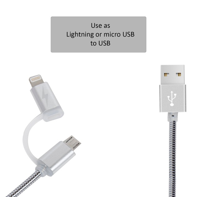 Navor-3FT 2 In 1 Lightning And Micro USB Data Sync Cable Charging Cord