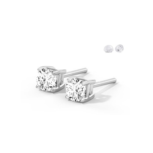 Sterling Silver 4mm Round Cubic Zircon Stud Earrings