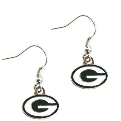 Green Bay Packers Dangle Logo Earring Set Charm Gift