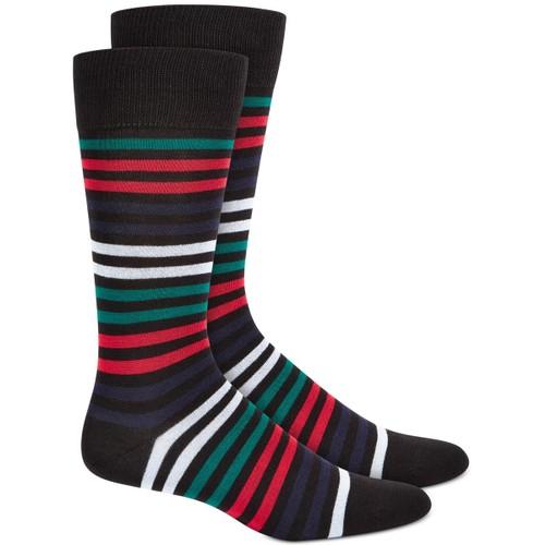 Alfani Men's Variegated Stripe Socks Black Size 10-13