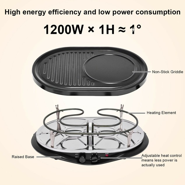 Costway Electric Raclette Grill Oval 1200W 8 Person Party Cooktop Non Stick
