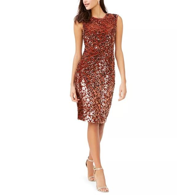 Vince Camuto Women's Velvet Sequin Animal-Print Dress Gold Size 2