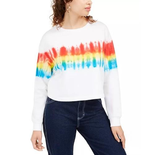 Rebellious One Junior's Tie Dyed Sweatshirt White Size X-Large