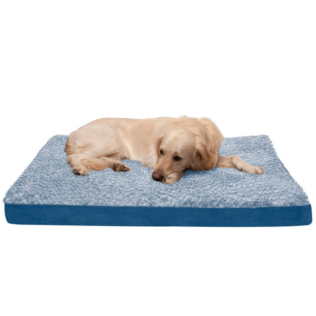 FurHaven Two-Tone Faux Fur & Suede Deluxe Cooling Gel Orthopedic Pet Bed