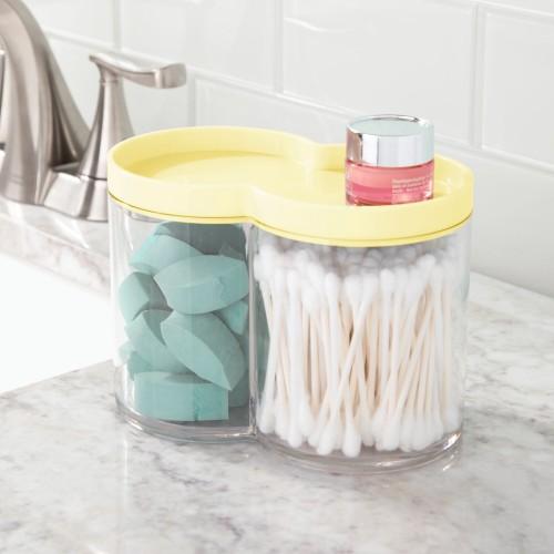 mDesign Plastic Bathroom Vanity Countertop Canister Jar with Lid