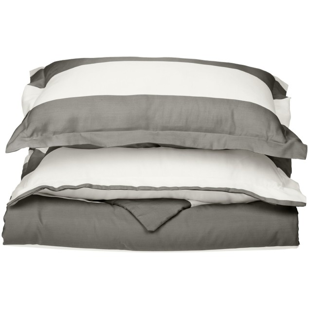 Striped Cabana 600-Thread-Count Duvet Cover Set With Shams,Cotton Rich,8