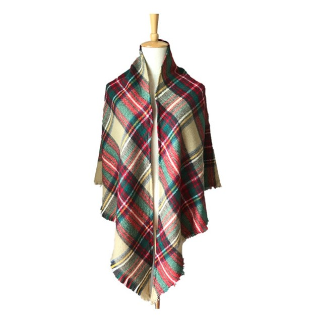 Double-Sided Colorful Plaid Triangle Scarf Ladies Shawl